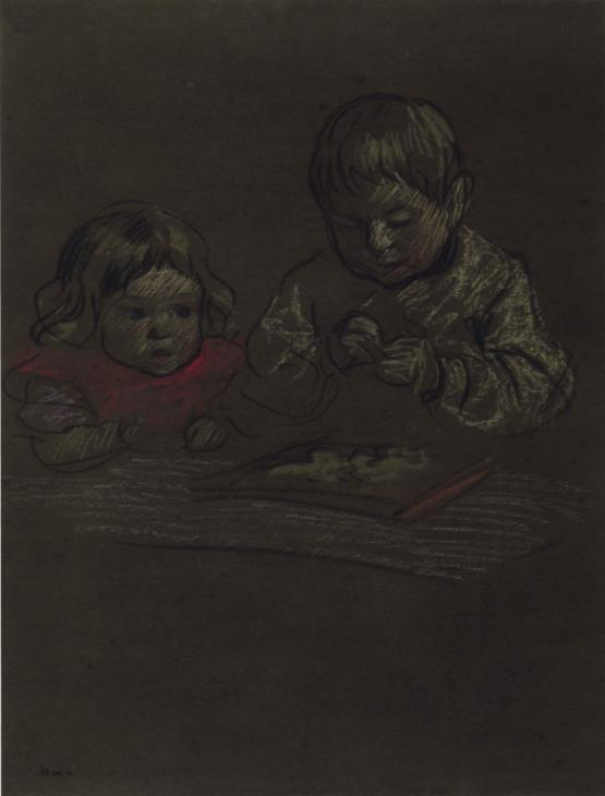 Two Children Playing c.1902 by Horace Mann Livens 1862-1936